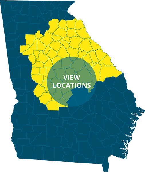Bizzy Bee Exterminators service area image highlighting mid to mid-north and mid-northeast georgia